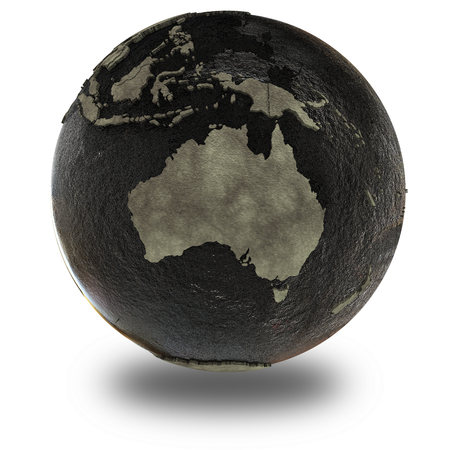 oily: Australia on 3D model of planet Earth with black oily oceans and concrete continents with embossed countries. 3D illustration isolated on white background with shadow.