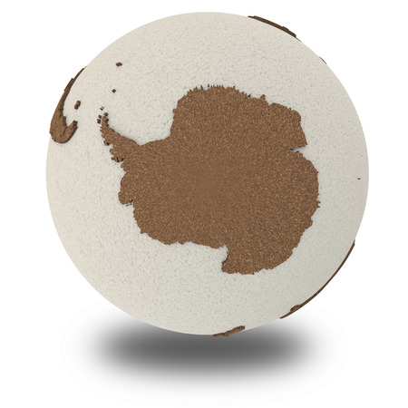 antarctica: Antarctica on 3D model of planet Earth with oceans made of polystyrene and continents made of cork with embossed countries. 3D illustration isolated on white background with shadow.