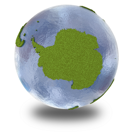background antarctica: Antarctica on 3D model of planet Earth with grassy continents with embossed countries and blue ocean. 3D illustration isolated on white background with shadow.