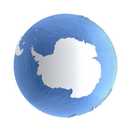 Antarctica on elegant silver 3D model of planet Earth with realistic watery blue ocean and silver continents with visible country borders. 3D illustration isolated on white background.