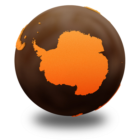 crusty: Antarctica on chocolate model of planet Earth. Sweet crusty continents with embossed countries and oceans made of dark chocolate. 3D illustration isolated on white background with shadow. Stock Photo