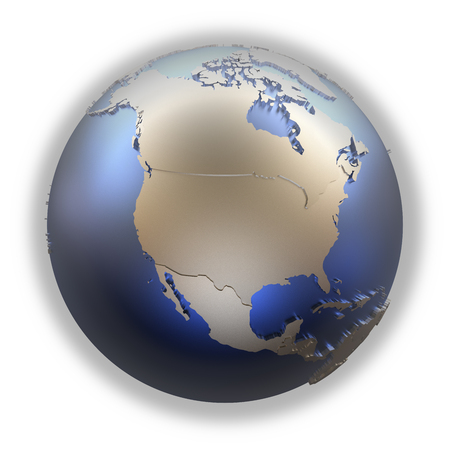 diplomatic: North America on elegant metallic model of planet Earth with blue ocean and shiny embossed continents with visible country borders. 3D illustration isolated on white background. Stock Photo