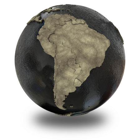 oily: South America on 3D model of planet Earth with black oily oceans and concrete continents with embossed countries. 3D illustration isolated on white background with shadow.