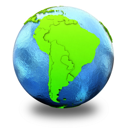 watery: South America on elegant green 3D model of planet Earth with realistic watery blue ocean and green continents with visible country borders. 3D illustration isolated on white background with shadow.