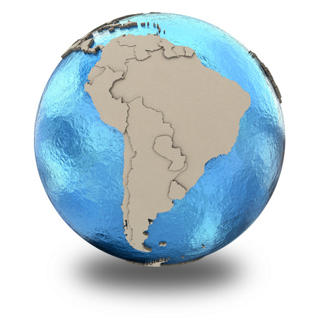 latin americans: South America on 3D model of blue Earth with embossed countries and blue ocean. 3D illustration isolated on white background with shadow.