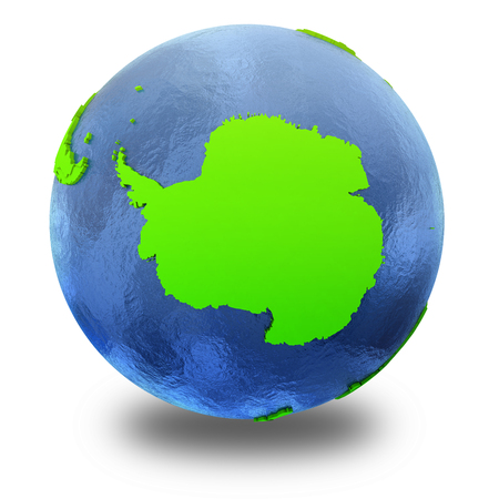 watery: Antarctica on elegant green 3D model of planet Earth with realistic watery blue ocean and green continents with visible country borders. 3D illustration isolated on white background with shadow.