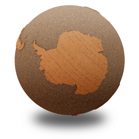 background antarctica: Antarctica on 3D model of wooden planet Earth with oceans made of cork and wooden continents with embossed countries. 3D illustration isolated on white background with shadow.