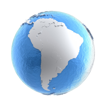watery: South America on elegant silver 3D model of planet Earth with realistic watery blue ocean and silver continents with visible country borders. 3D illustration isolated on white background. Stock Photo