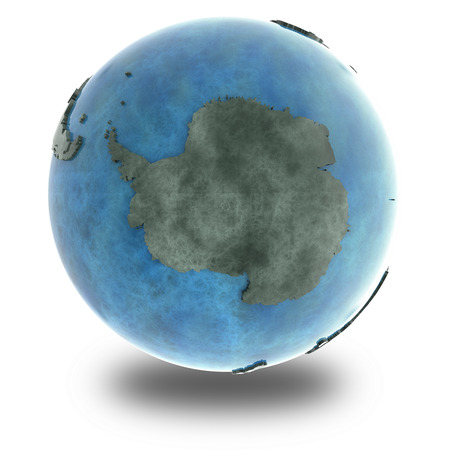 background antarctica: Antarctica on 3D model of planet Earth made of blue marble with embossed countries and blue ocean. 3D illustration isolated on white background with shadow.