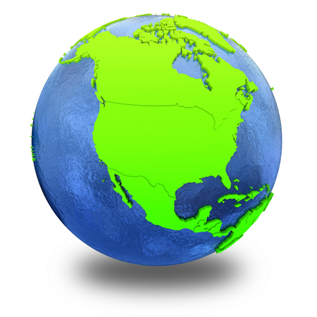 watery: North America on elegant green 3D model of planet Earth with realistic watery blue ocean and green continents with visible country borders. 3D illustration isolated on white background with shadow. Stock Photo