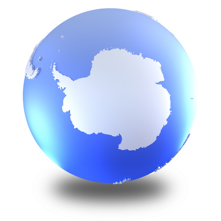 background antarctica: Antarctica on bright metallic model of planet Earth with blue ocean and shiny embossed continents with visible country borders. 3D illustration isolated on white background with shadow. Stock Photo