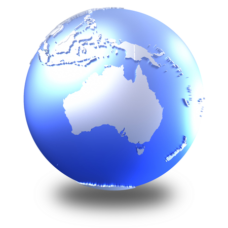 diplomatic: Australia on bright metallic model of planet Earth with blue ocean and shiny embossed continents with visible country borders. 3D illustration isolated on white background with shadow. Stock Photo