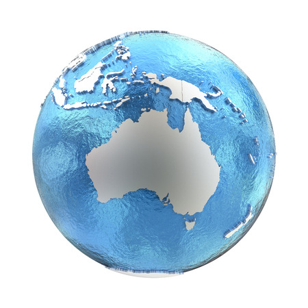 watery: Australia on elegant silver 3D model of planet Earth with realistic watery blue ocean and silver continents with visible country borders. 3D illustration isolated on white background. Stock Photo