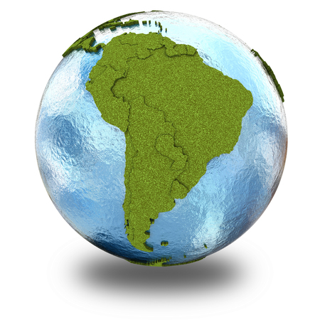grassy: South America on 3D model of planet Earth with grassy continents with embossed countries and blue ocean. 3D illustration isolated on white background with shadow.