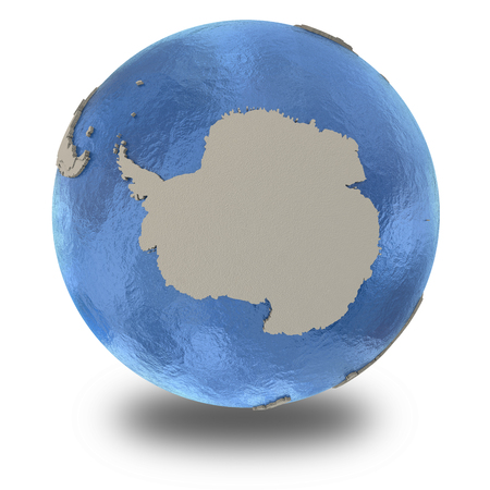 background antarctica: Antarctica on 3D model of blue Earth with embossed countries and blue ocean. 3D illustration isolated on white background with shadow.