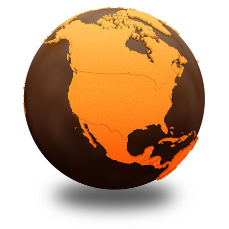 crusty: North America on chocolate model of planet Earth. Sweet crusty continents with embossed countries and oceans made of dark chocolate. 3D illustration isolated on white background with shadow.
