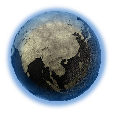 oily: Southeast Asia on 3D model of planet Earth with black oily oceans and concrete continents with embossed countries. 3D illustration isolated on white background.