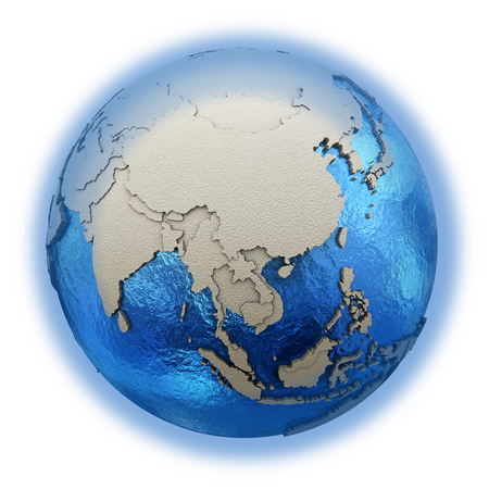 earth map: Southeast Asia on 3D model of blue Earth with embossed countries and blue ocean. 3D illustration isolated on white background. Stock Photo
