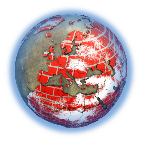 brick earth: Europe on brick wall model of planet Earth with continents made of red bricks and oceans of wet concrete. 3D illustration isolated on white background.