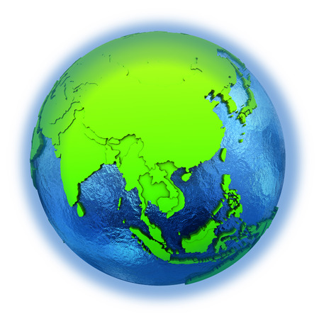 watery: Southeast Asia on elegant green 3D model of planet Earth with realistic watery blue ocean and green continents with visible country borders. 3D illustration isolated on white background.