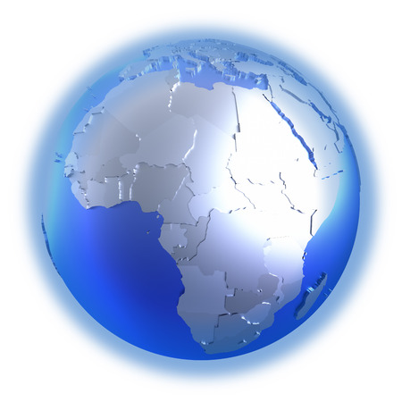 diplomatic: Africa on bright metallic model of planet Earth with blue ocean and shiny embossed continents with visible country borders. 3D illustration isolated on white background. Stock Photo