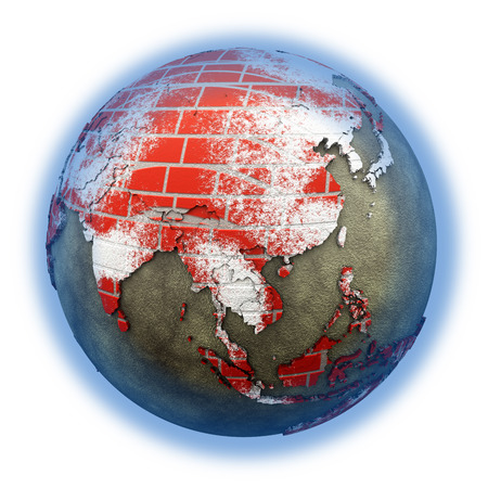 brick earth: Southeast Asia on brick wall model of planet Earth with continents made of red bricks and oceans of wet concrete. 3D illustration isolated on white background.