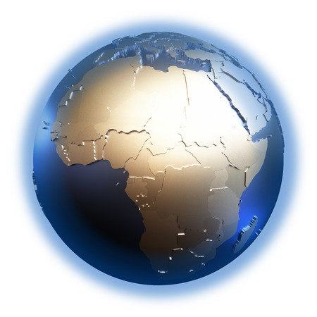 diplomatic: Africa on elegant metallic model of planet Earth with blue ocean and shiny embossed continents with visible country borders. 3D illustration isolated on white background.