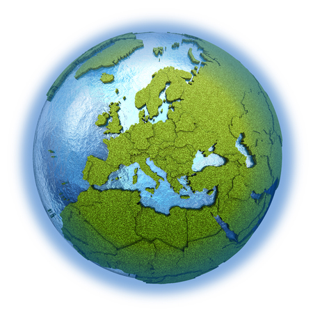 grassy: Europe on 3D model of planet Earth with grassy continents with embossed countries and blue ocean. 3D illustration isolated on white background.