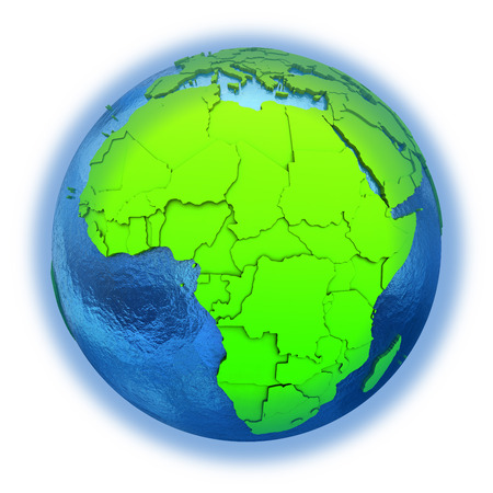 watery: Africa on elegant green 3D model of planet Earth with realistic watery blue ocean and green continents with visible country borders. 3D illustration isolated on white background. Stock Photo