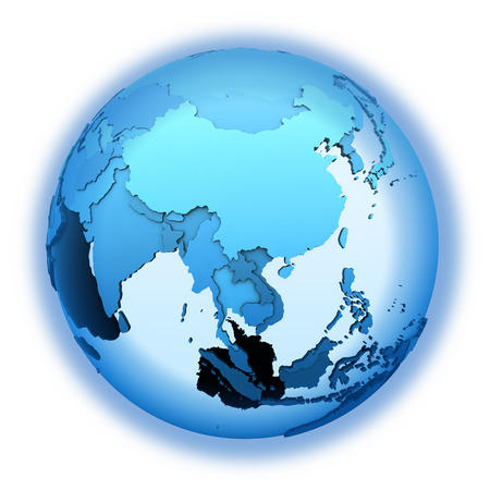 diplomatic: Southeast Asia on translucent model of planet Earth with visible continents blue shaded countries. 3D illustration isolated on white background.