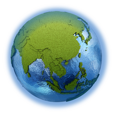 grassy: Southeast Asia on 3D model of planet Earth with grassy continents with embossed countries and blue ocean. 3D illustration isolated on white background.