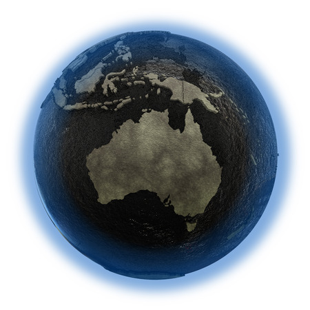 oily: Australia on 3D model of planet Earth with black oily oceans and concrete continents with embossed countries. 3D illustration isolated on white background.