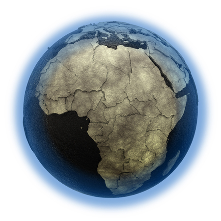 petroleum blue: Africa on 3D model of planet Earth with black oily oceans and concrete continents with embossed countries. 3D illustration isolated on white background. Stock Photo
