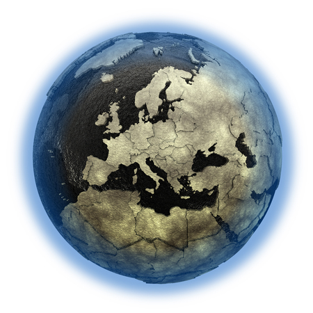 oily: Europe on 3D model of planet Earth with black oily oceans and concrete continents with embossed countries. 3D illustration isolated on white background.