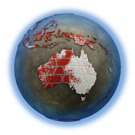 australasia: Australia on brick wall model of planet Earth with continents made of red bricks and oceans of wet concrete. Concept of global construction. 3D illustration isolated on white background.