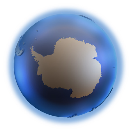 background antarctica: Antarctica on elegant metallic model of planet Earth with blue ocean and shiny embossed continents with visible country borders. 3D illustration isolated on white background. Stock Photo