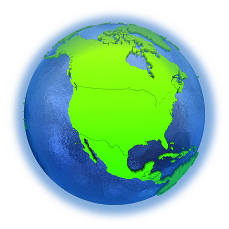 watery: North America on elegant green 3D model of planet Earth with realistic watery blue ocean and green continents with visible country borders. 3D illustration isolated on white background.