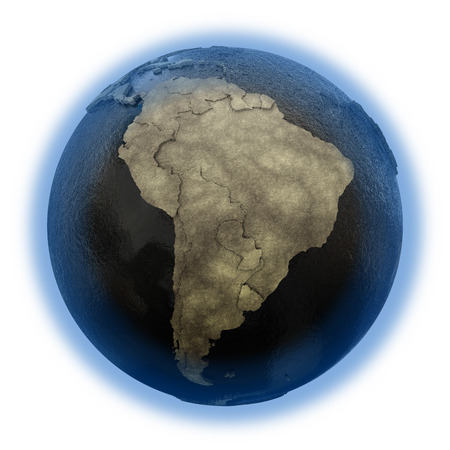 sea disaster: South America on 3D model of planet Earth with black oily oceans and concrete continents with embossed countries. 3D illustration isolated on white background.
