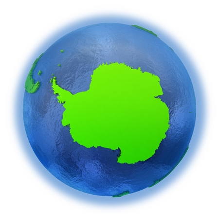 watery: Antarctica on elegant green 3D model of planet Earth with realistic watery blue ocean and green continents with visible country borders. 3D illustration isolated on white background.