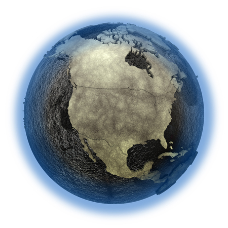 North America on 3D model of planet Earth with black oily oceans and concrete continents with embossed countries. 3D illustration isolated on white background.