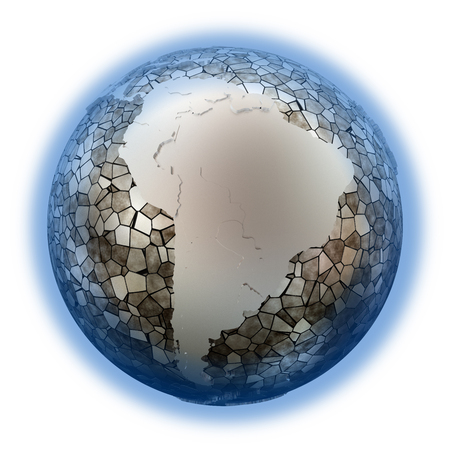 the oceans: South America on metallic model of planet Earth. Shiny steel continents with embossed countries and oceans made of steel plates. 3D illustration isolated on white background. Stock Photo