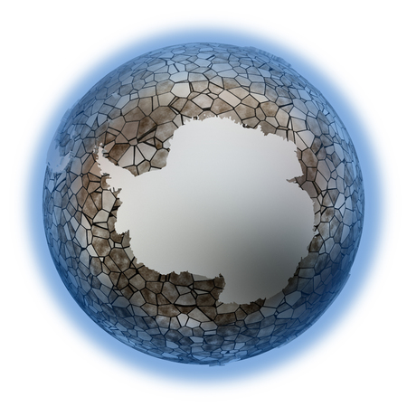 background antarctica: Antarctica on metallic model of planet Earth. Shiny steel continents with embossed countries and oceans made of steel plates. 3D illustration isolated on white background.