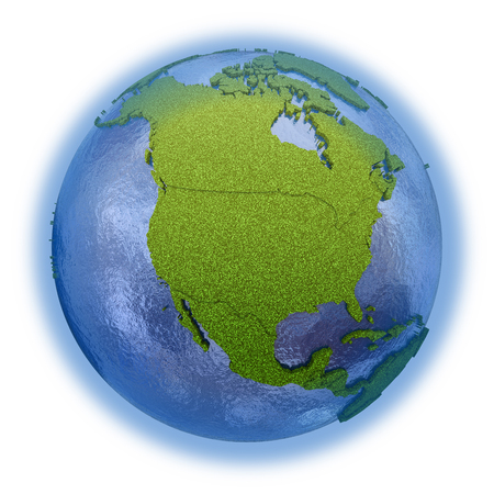 grassy: North America on 3D model of planet Earth with grassy continents with embossed countries and blue ocean. 3D illustration isolated on white background. Stock Photo