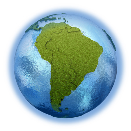 diplomatic: South America on 3D model of planet Earth with grassy continents with embossed countries and blue ocean. 3D illustration isolated on white background.