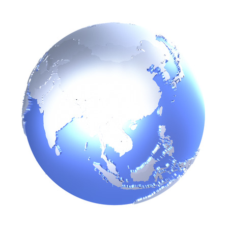 diplomatic: Southeast Asia on bright metallic model of planet Earth with blue ocean and shiny embossed continents with visible country borders. 3D illustration isolated on white background.