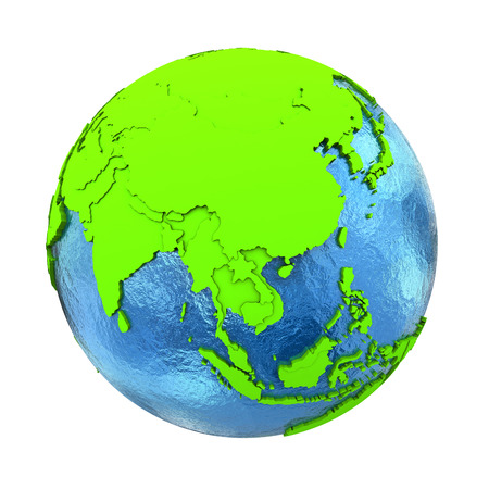 green environment: Southeast Asia on elegant green 3D model of planet Earth with realistic watery blue ocean and green continents with visible country borders. 3D illustration isolated on white background.