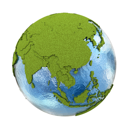 earth map: Southeast Asia on 3D model of planet Earth with grassy continents with embossed countries and blue ocean. 3D illustration isolated on white background.