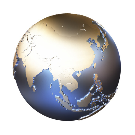 earth map: Southeast Asia on elegant metallic model of planet Earth with blue ocean and shiny embossed continents with visible country borders. 3D illustration isolated on white background. Stock Photo