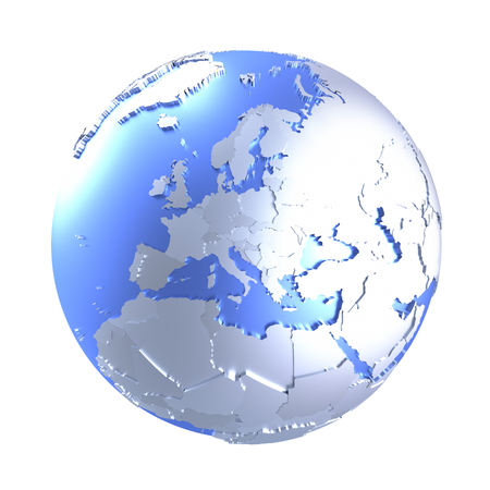 diplomatic: Europe on bright metallic model of planet Earth with blue ocean and shiny embossed continents with visible country borders. 3D illustration isolated on white background. Stock Photo