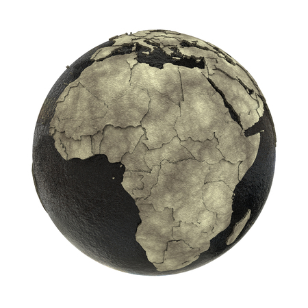 oily: Africa on 3D model of planet Earth with black oily oceans and concrete continents with embossed countries. Concept of petroleum industry or global enviromental disaster. 3D illustration isolated on white background.